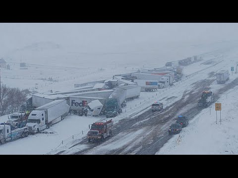I-80 MASSIVE TRUCK PILE UP IN WYOMING 2015