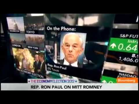 Ron Paul on Mitt Romney & Federal Reserve Policy Bloomberg 8/31/12