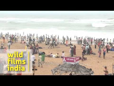 Visitors at Puri Beach, Odisha