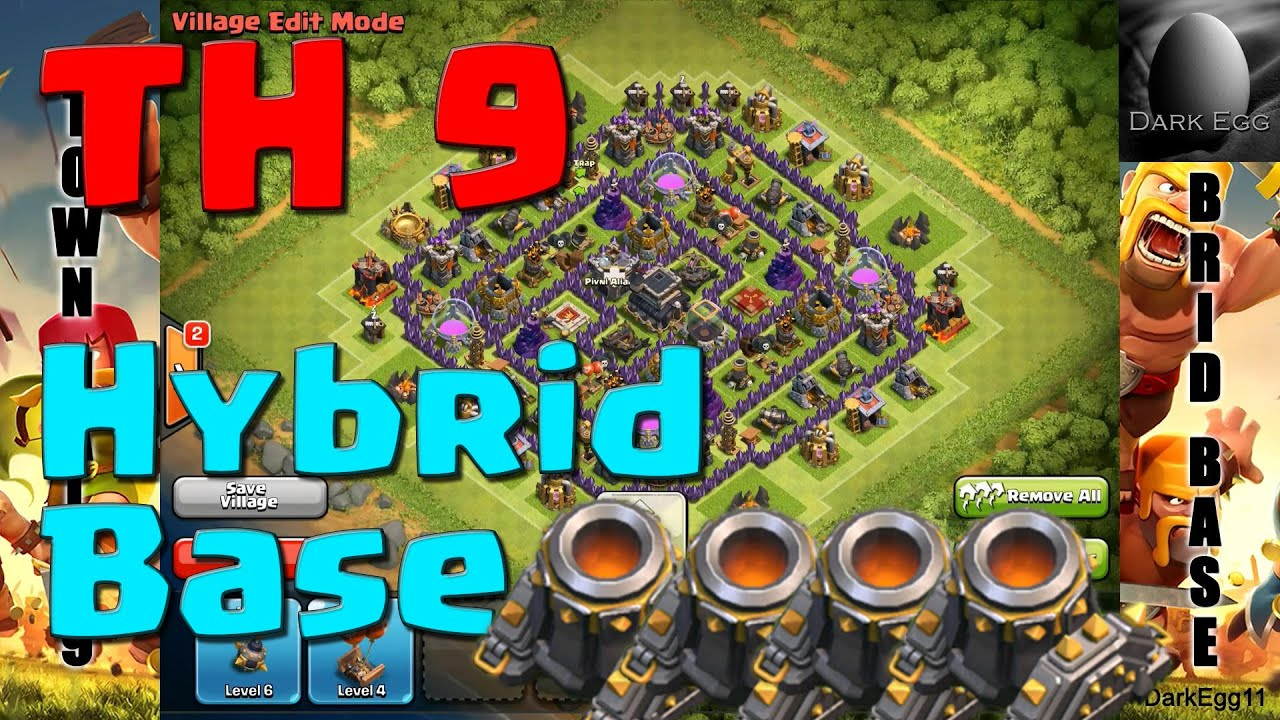 Clash of clans town hall 9 hybrid base 4 mortars update youtube