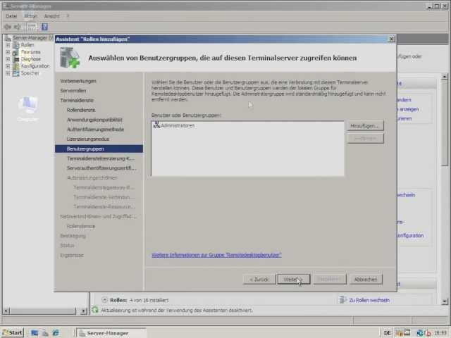 TUT Win Terminalserver 2008   Benutzer und Gruppen, Remoteapps installieren   Teil 4 HD