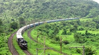 Beautifull GHAT SECTION and Descending EXPRESS TRAIN - Indian Railways !!