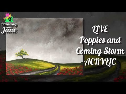 LIVE Poppies and Coming Storm - Step by Step Acrylic Painting Tutorial