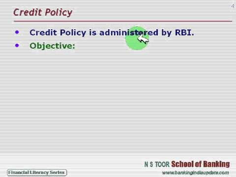 Monetary and Credit Policy in India