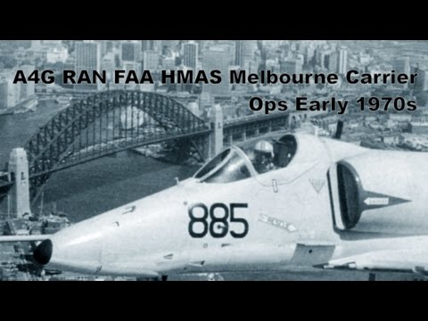 Skyhawk RAN FAA A4G Carrier Ops HMAS Melbourne Early '70s