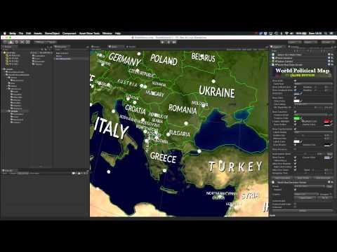 Country customizing options with Decorators in World Political Map for Unity