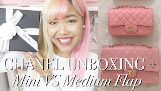 CHANEL MINI VS MEDIUM FLAP ♡ Bag Comparison & Surprise Unboxing! ♡ xsakisaki