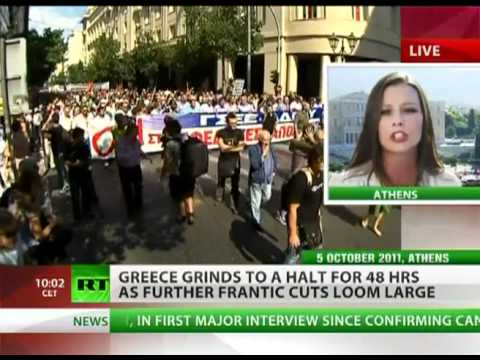 Massive Austerity Strike Greece- Protest aims to  shut down country for 48 hours.flv
