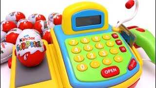 New Surprise Eggs Kinder Surprise Unboxing Cash Register Toy Shopping Market Toys for Kids