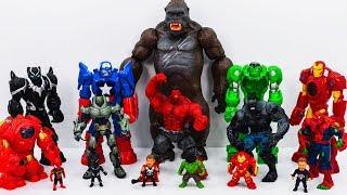 Power Rangers & Marvel Avengers Toys Pretend Play   Red Hulk & Super Hero Mech Armors vs King Kong