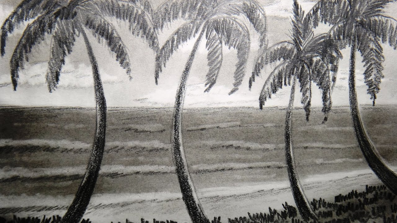 How to draw seashore a...