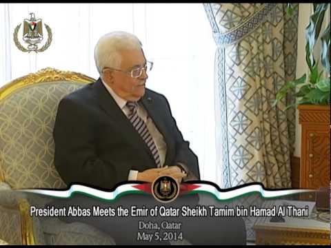 President Abbas Meets the Emir of Qatar Sheikh Tamim bin Hamad Al Thani