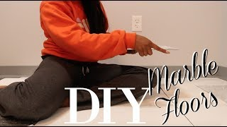 DIY Marble Floors On Carpet! | RENTER FRIENDLY! | MAKEUP MOO