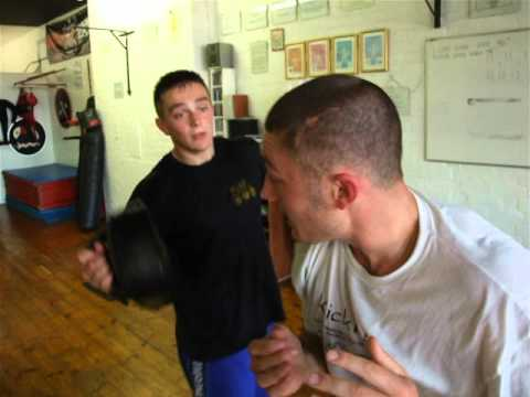 Kickfit Martial Arts Academy Nottingham,UK.Elbows on Thai pads,Progressive Kickboxing Class Image 1