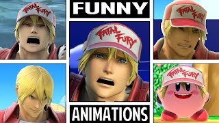 Terry Bogard Various FUNNY ANIMATIONS in Smash Bros Ultimate (Drowning, Dizzy, Star KO, & More!)