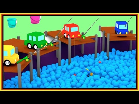 WHICH BUCKET? - Ball Pit Pool FISHING - Cartoon Cars - Car Cartoons for Kids.Kid's Cartoons