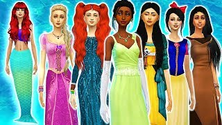 Disney Princess Makeovers as MERMAIDS CHALLENGE!🧜♀️ in The Sims 4 Create a Sim! (Part 1)