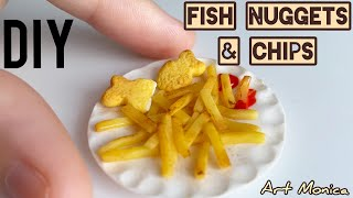 Fish Nuggets & chips Polymer Clay : Miniature DIY