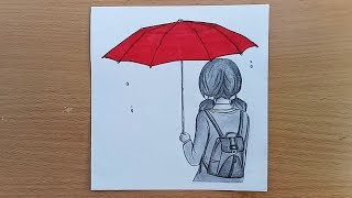 How to draw School going girl.Cute School Girl Easy...