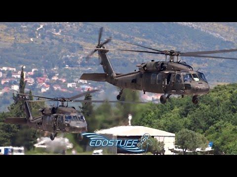 Six US Army Sikorsky UH-60L Black Hawks Takeoff from Split Airport LDSP/SPU