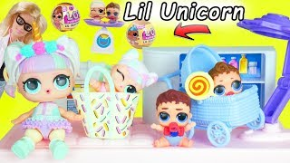 Unicorn Baby Gets New Lil Sister LOL Surprise Dolls Boy + Custom Punk Boi Confetti Pop Orbeez