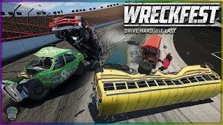 BATTLE AT BRISTOL! (Busses, Harvesters, Supervans, NASCAR) | Wreckfest
