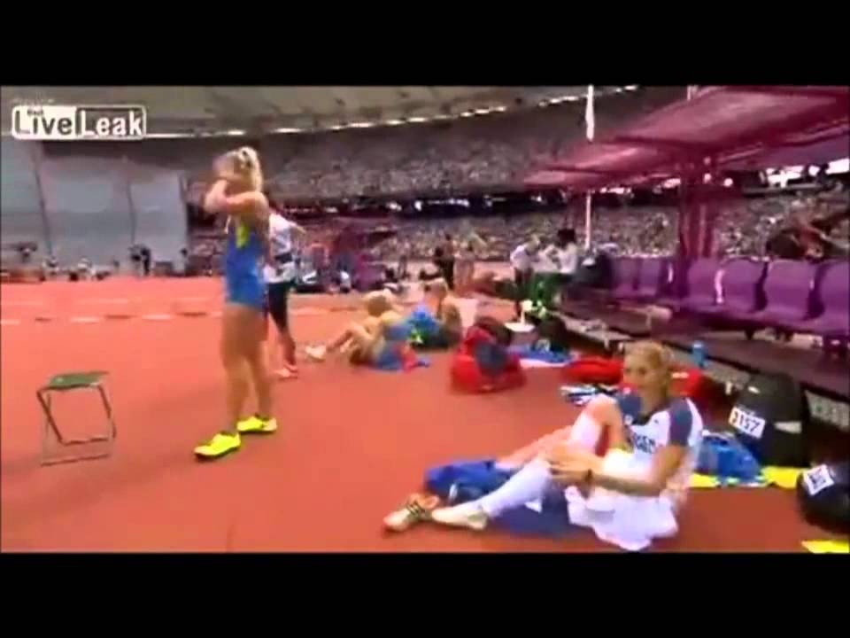 Oops Olympics 2012 Klucinova filmed while she takes off