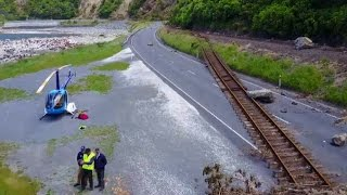 Helicopter aerials of Kaikoura earthquake damage
