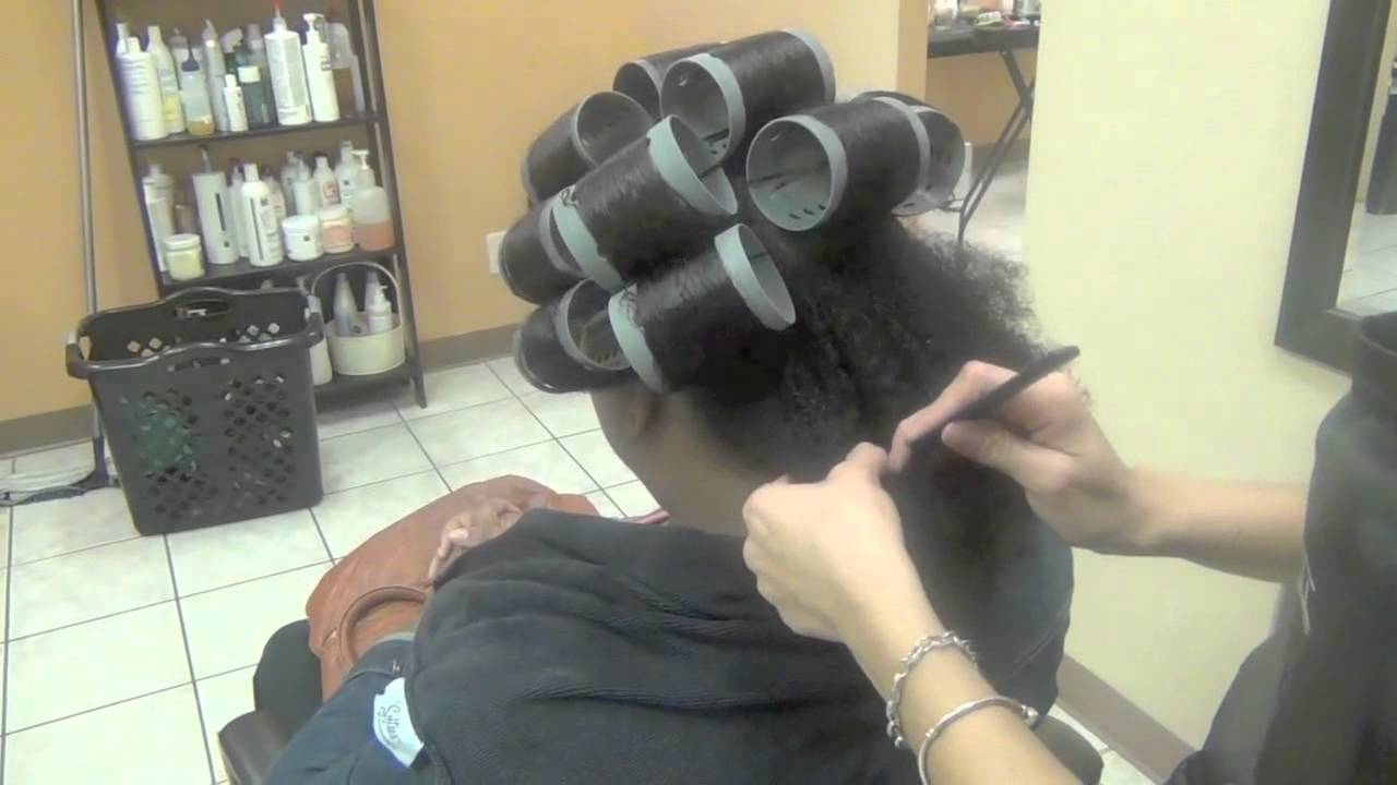 Roller set on natural hair and dominican blow out lucys salon
