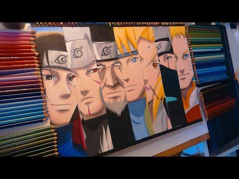Drawing 7 HOKAGES - speed drawing Naruto (Shippuden)