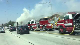 There is a big truck on fire In Gilroy California