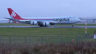 CLX B747-8F (LX-VCI) Emergency Landing Prestwick Airport - [4K/UHD]