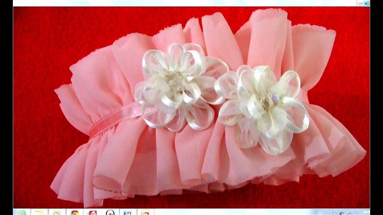 Diademas en gasa con rosas en cintas de organza para el for Diademas de tela para el cabello