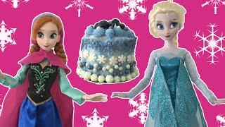 Frozen Elsa + Anna make Birthday Cake! Frozen dolls make a Real Cake! Tutorial + decorating ideas!