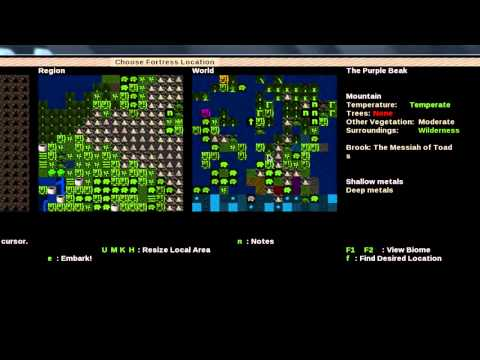 Dwarf Fortress Tutorial Part1: Lazy Newb Pack, World Gen, and Embark.