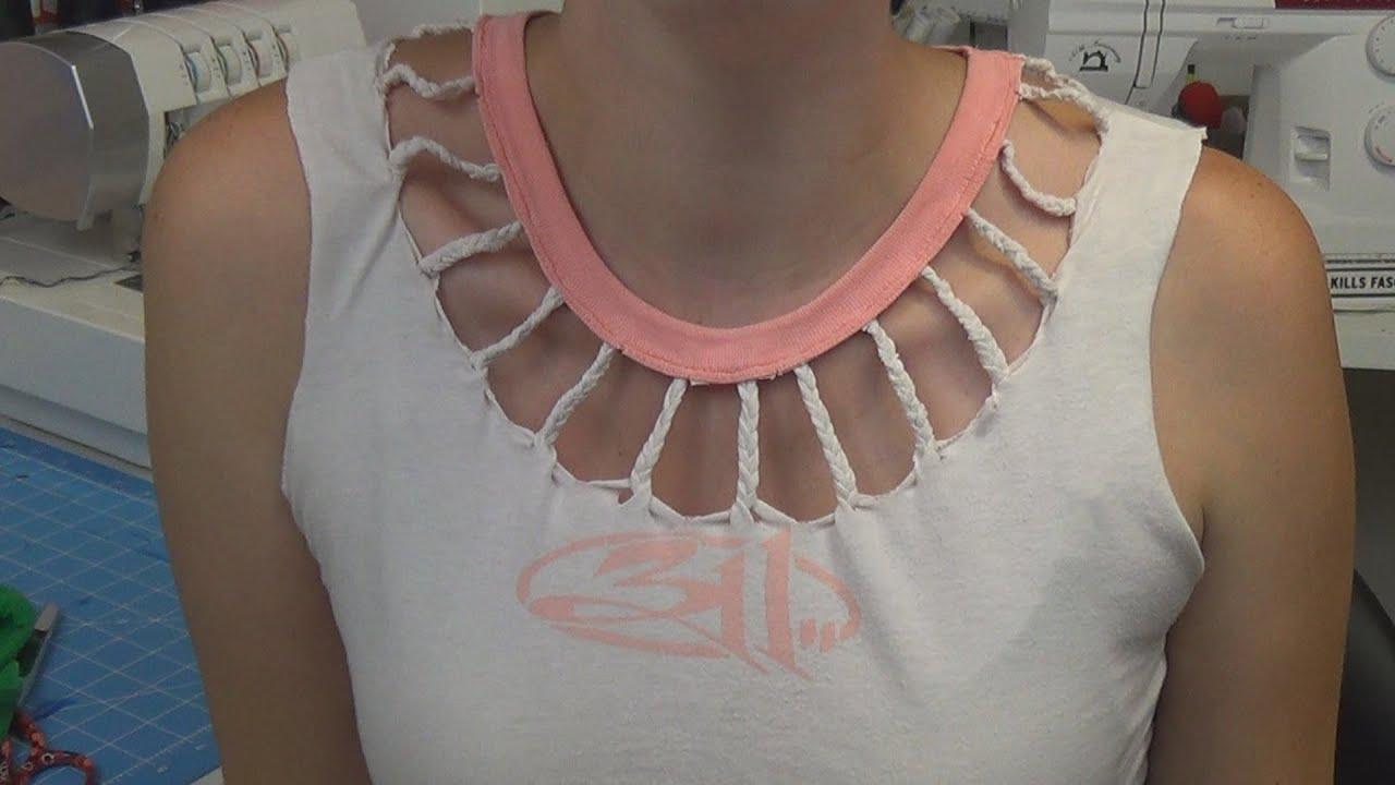 Shirt Necklines Braided Neckline T-shirt