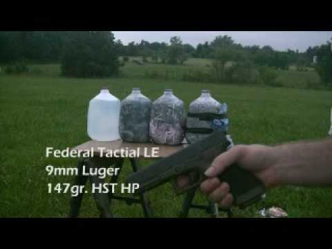 9 mm Federal Tactical LE 147 HST vs. Winchester Ranger 124 +P  Bonded  JHP