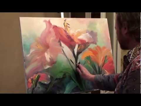 Как рисовать цветы маслом урок