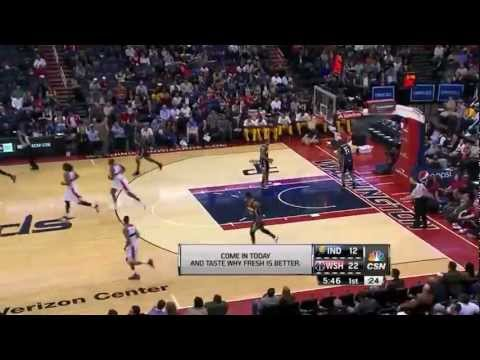 John Wall 37 points (nice dunk over Paul George) vs indiana Pacers full highlights 04/06/2013