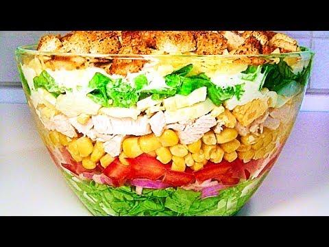 Салат «7 слоёв» - вкусный, яркий и красивый летний салат.