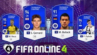 FIFA ONLINE 4: TEST DÀN TEAM FULL TC Vs Ballack TC - S. Gerrard TC - M. Reus TC & P. Dybala TC
