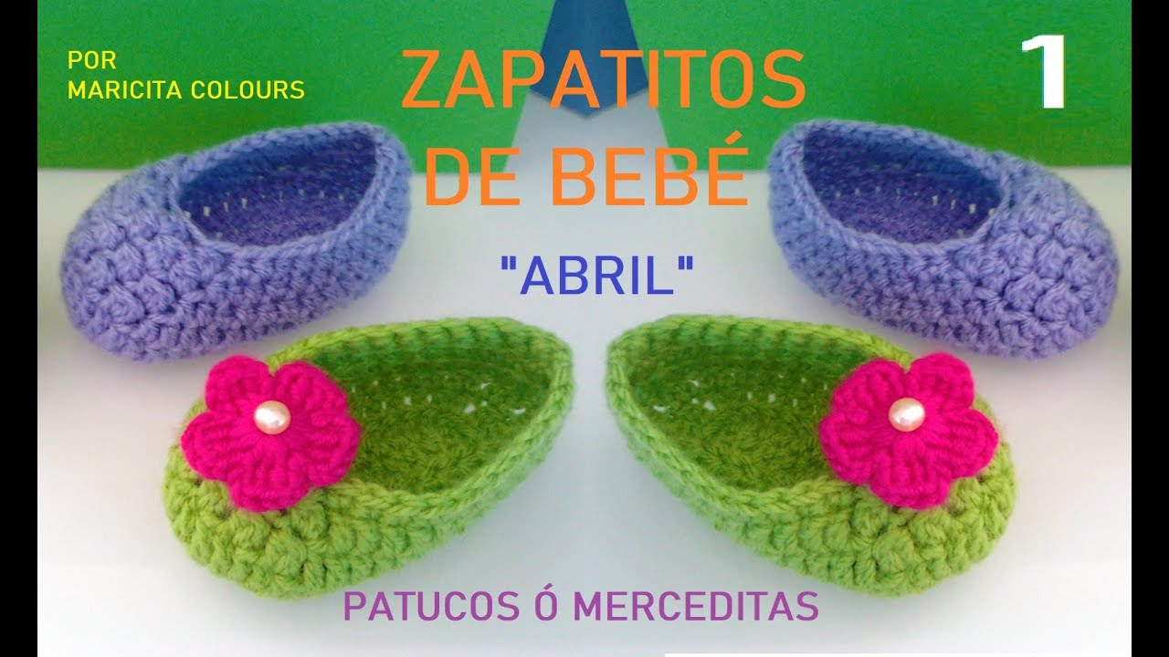Crochet Tutorial Zapatitos : Crochet Tutorial Zapatitos Bebe Abril Escarpines (Parte 1) Subtit...