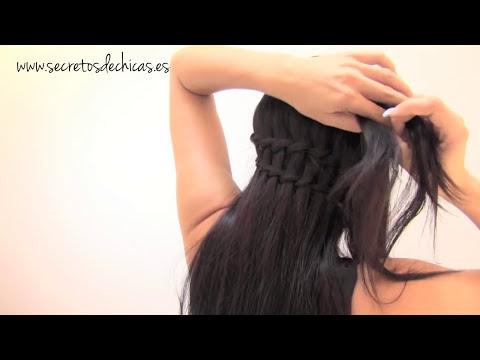 Peinado con trenza de cascada doble