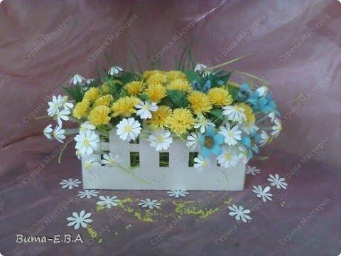 Поделка клумба с цветами из бумаги