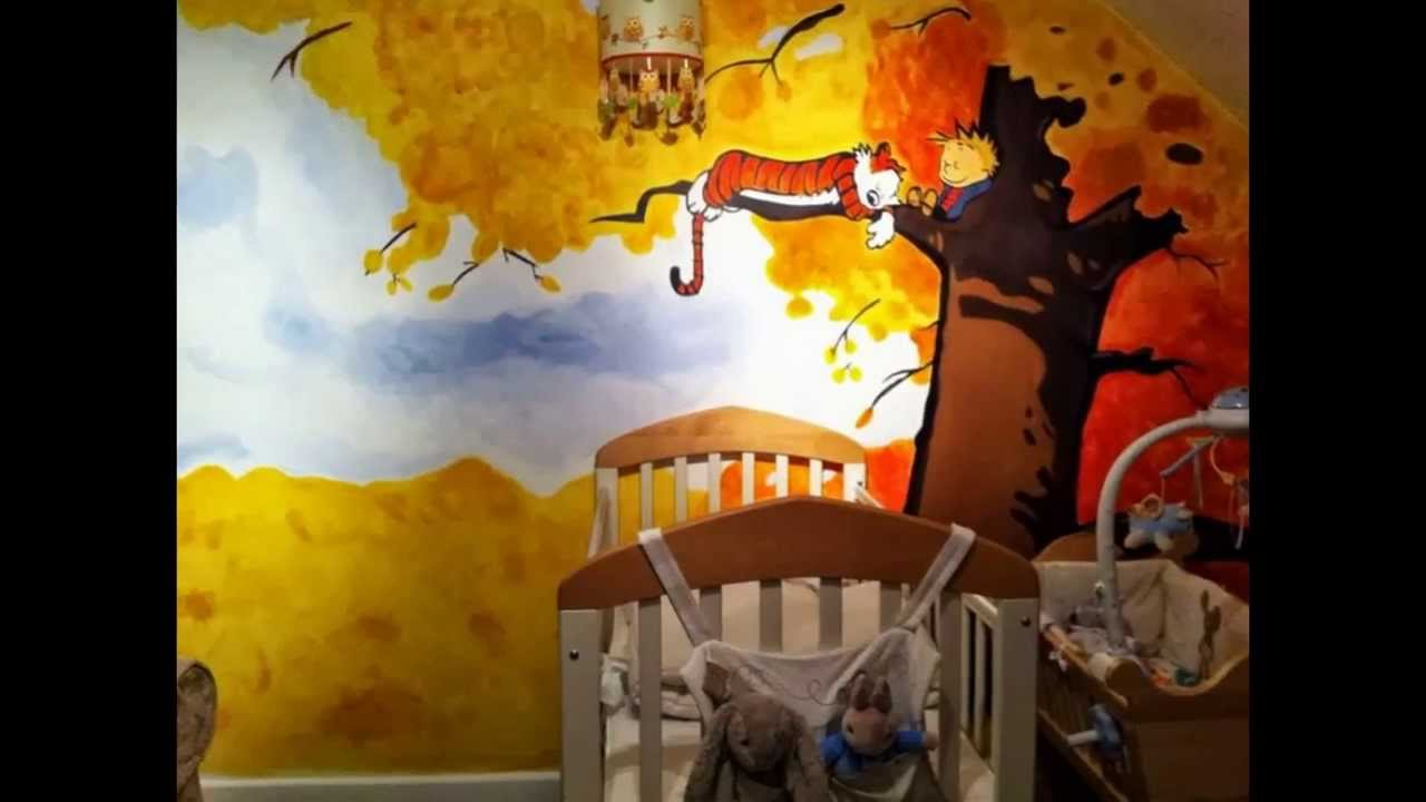 Calvin and hobbes nursery mural youtube for Calvin and hobbes nursery mural