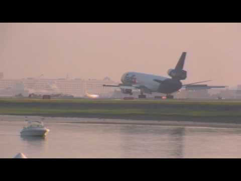 Federal Express DC-10 lands at Boston Logan Airport Video