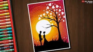 Romantic Couple under love tree drawing with Oil Pastels - step by step