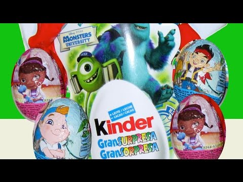 10 Surprise Eggs Monsters University, Doc McStuffins, Jake, Mickey Mouse and Disney Princess