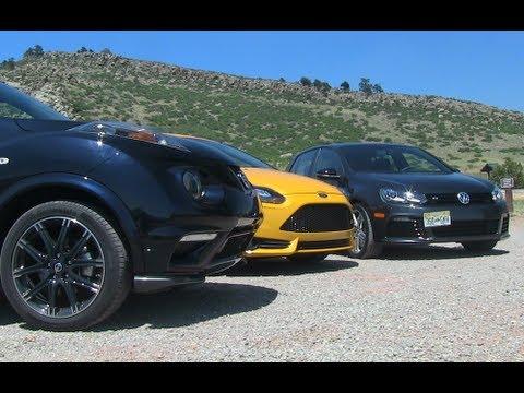 Ford Focus ST v VW Golf R v Nissan Juke Nismo 0-60 MPH Mashup Review