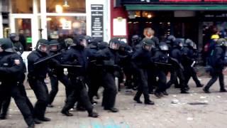 Hamburg Rote Flora Polizei verhindert Demonstration 21.12.2013